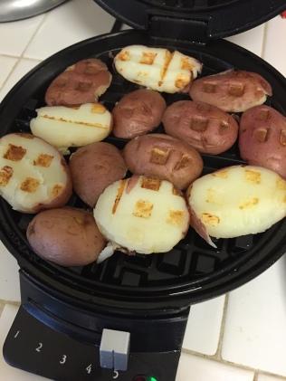 Waffle ironed potatoes